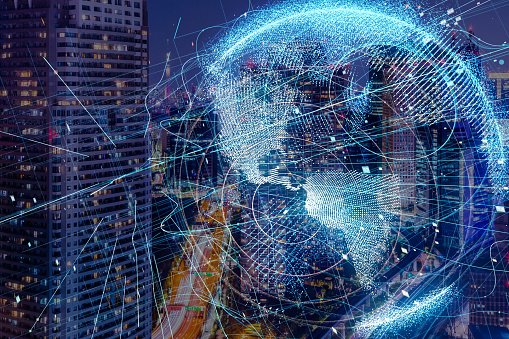 istock Smart city and global network concept. 889289358