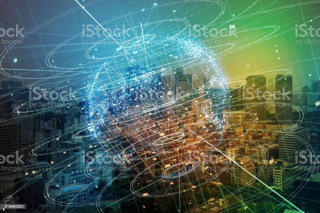Smart city and global network concept. stock photo