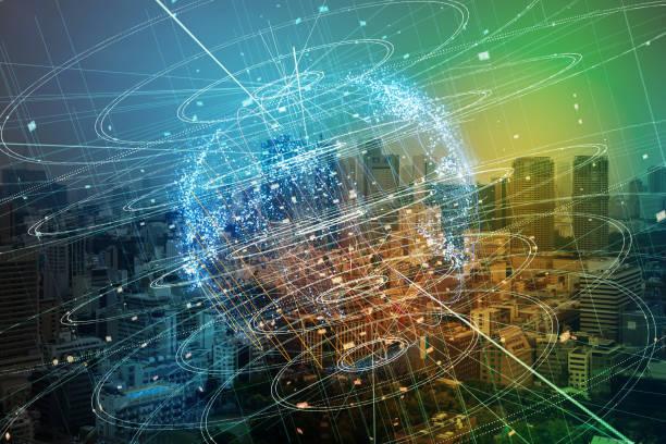 ciudad inteligente y el concepto de red global. - internet de las cosas fotografías e imágenes de stock