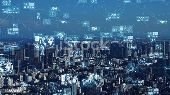 1129543876 istock photo Smart city and information technology concept. 5G. IoT (Internet of Things) concept. Communication network. 1193826935