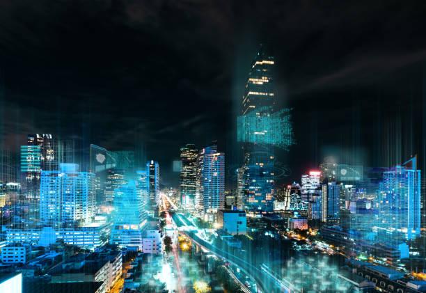 smart city and internet network - smart city imagens e fotografias de stock