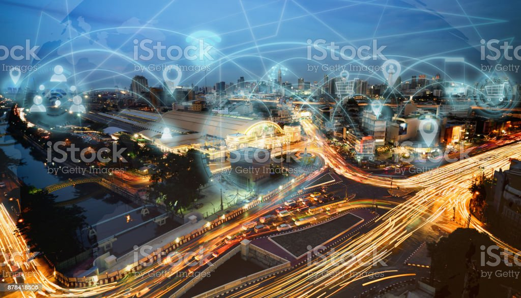 Smart city and internet network stock photo