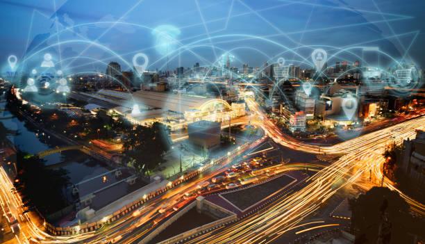 smart city and internet network - rete elettrica foto e immagini stock