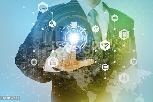 istock smart city and internet of things abstract. business person and technology concept, IoT(Internet of Things), ICT(Information Communication Technology), CPS(Cyber-Physical Systems), abstract 684817474