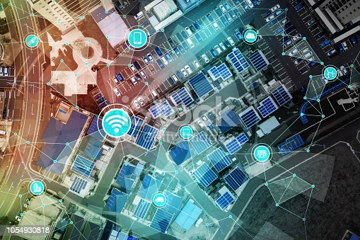 istock Smart city and Internet of Things concept. 1054930818