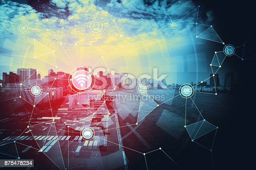 istock Smart city and Internet of Things concept. 875478234