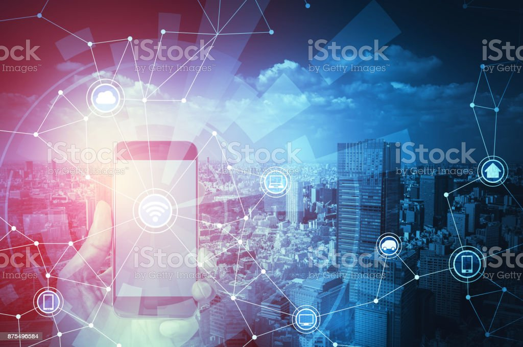 Smart city and Internet of Things concept. stock photo