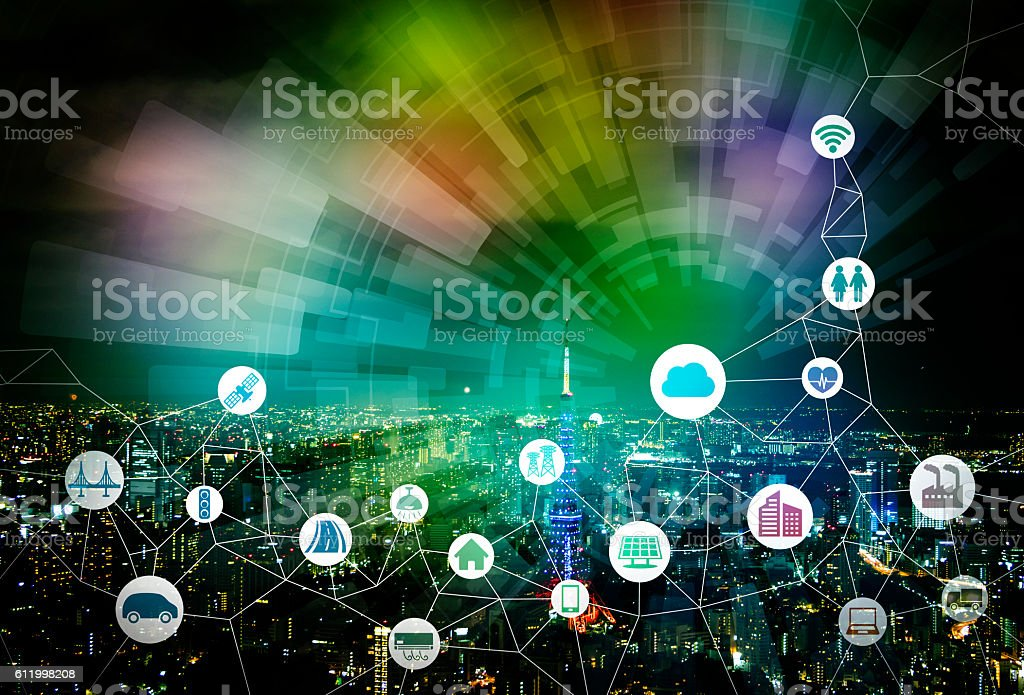 smart city and internet of things, various communication devices bildbanksfoto