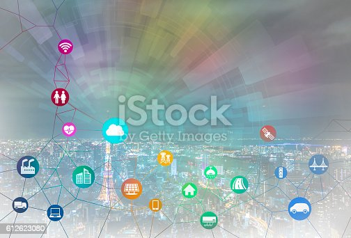 istock smart city and internet of things, various communication devices 612623080