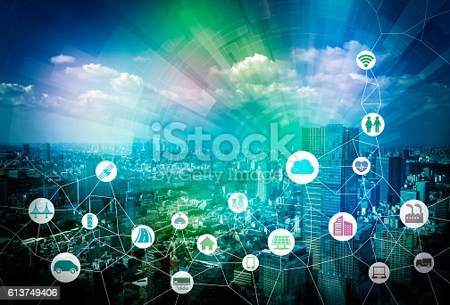istock smart city and internet of things, various communication devices 613749406