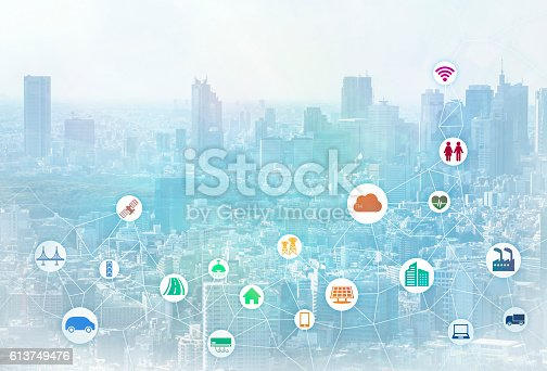 istock smart city and internet of things, various communication devices 613749476