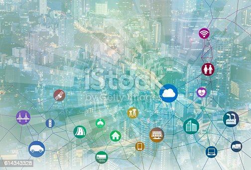 istock smart city and internet of things, various communication devices 614343328