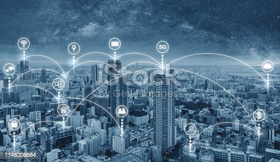 istock Smart city and internet wireless and networking in the city. Futuristic city with internet network and online media application icons 1148206664