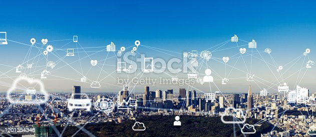 1129543876 istock photo Smart city and IoT (Internet of Things) concept. Communication network. 1201354348