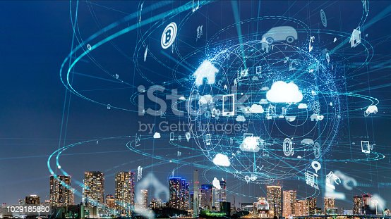 685306538 istock photo Smart city and IoT (Internet of Things) concept. ICT (Information Communication Technology). 1029185880
