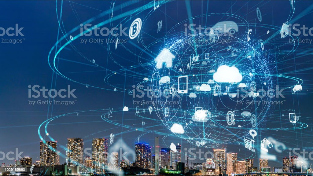 Smart city and IoT (Internet of Things) concept. ICT (Information Communication Technology). stock photo