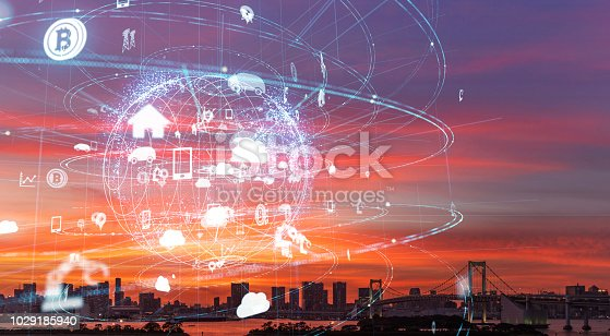 852015986 istock photo Smart city and IoT (Internet of Things) concept. ICT (Information Communication Technology). 1029185940