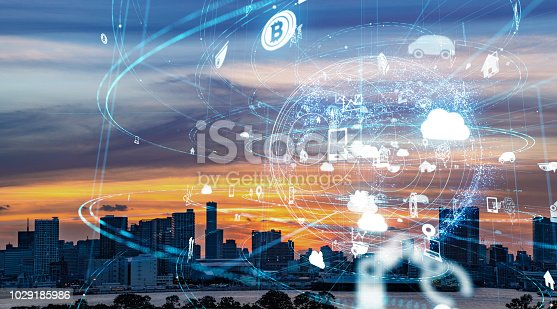 852015986 istock photo Smart city and IoT (Internet of Things) concept. ICT (Information Communication Technology). 1029185986