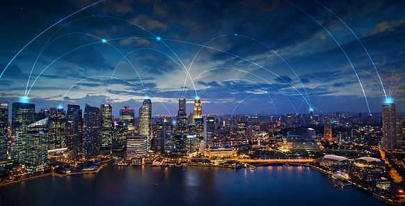 digital connection lines on a night skyline, wireless communication network concept