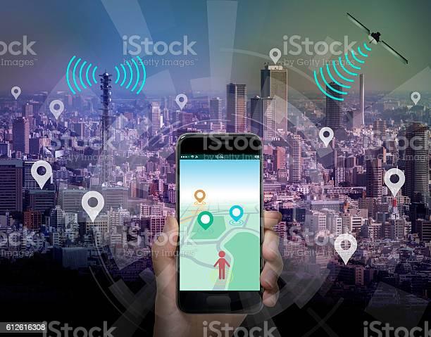 smart city and smart phone application using location information - GUIのロイヤリティフリーストックフォト