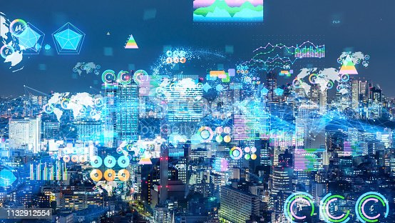1154261846 istock photo Smart city and statistics concept. IoT (Internet of Things). 1132912554