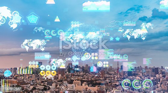 1154261846 istock photo Smart city and statistics concept. IoT (Internet of Things). 1132912557