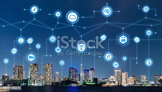 685306538 istock photo Smart city and telecommunication concept. 1029186020