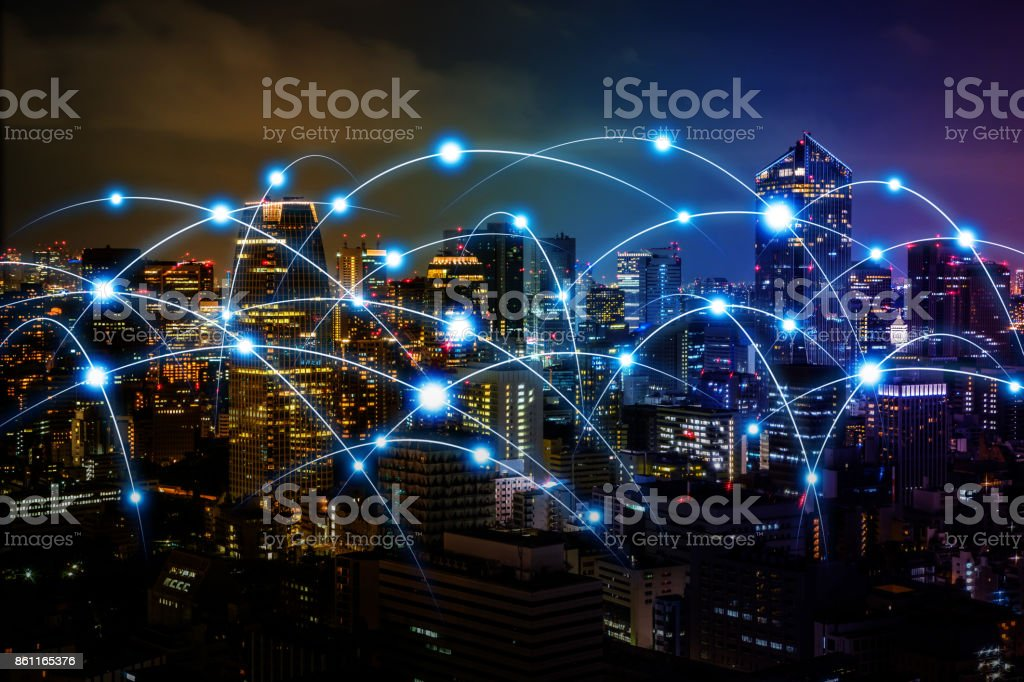 Smart city and telecommunication network concept. abstract mixed media. royalty-free stock photo