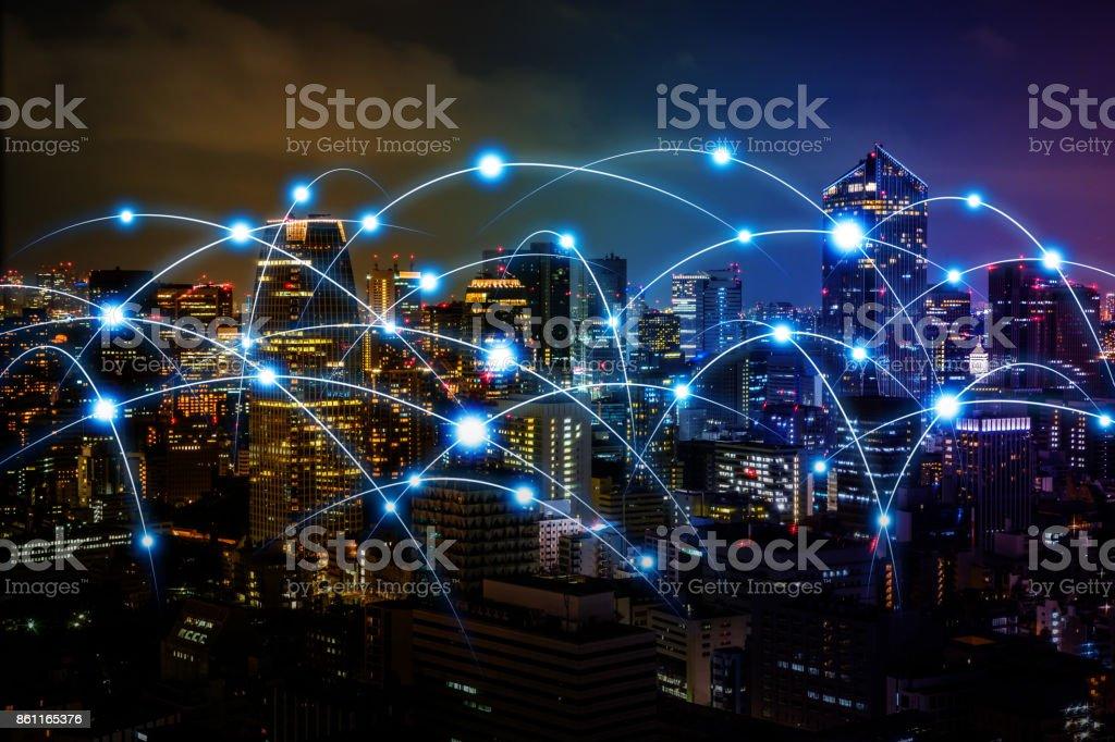 Smart city och telekommunikation nätverk koncept. abstrakta blandteknik. bildbanksfoto