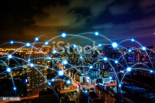 istock Smart city and telecommunication network concept. abstract mixed media. 861165436