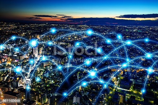 istock Smart city and telecommunication network concept. abstract mixed media. 861165648