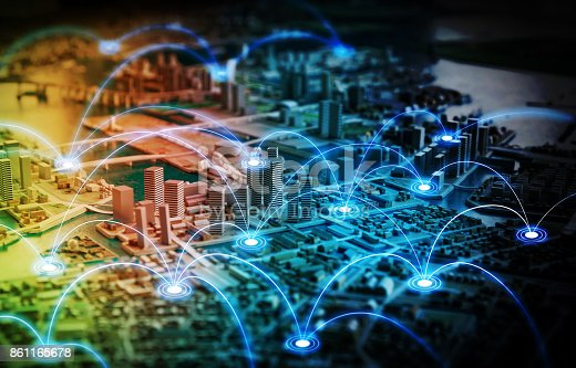 861165648istockphoto Smart city and telecommunication network concept. abstract mixed media. 861165678