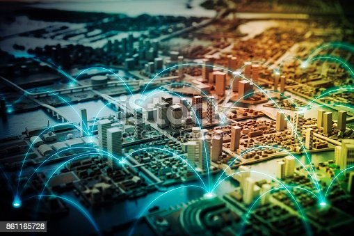 istock Smart city and telecommunication network concept. abstract mixed media. 861165728