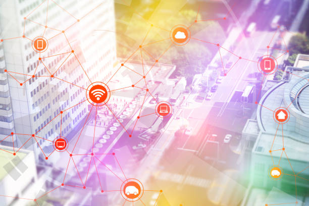 smart city and vehicles, wireless communication network, internet of things, abstract image visual stock photo