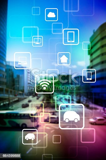istock smart city and vehicles, wireless communication network, internet of things, abstract image visual 664599888