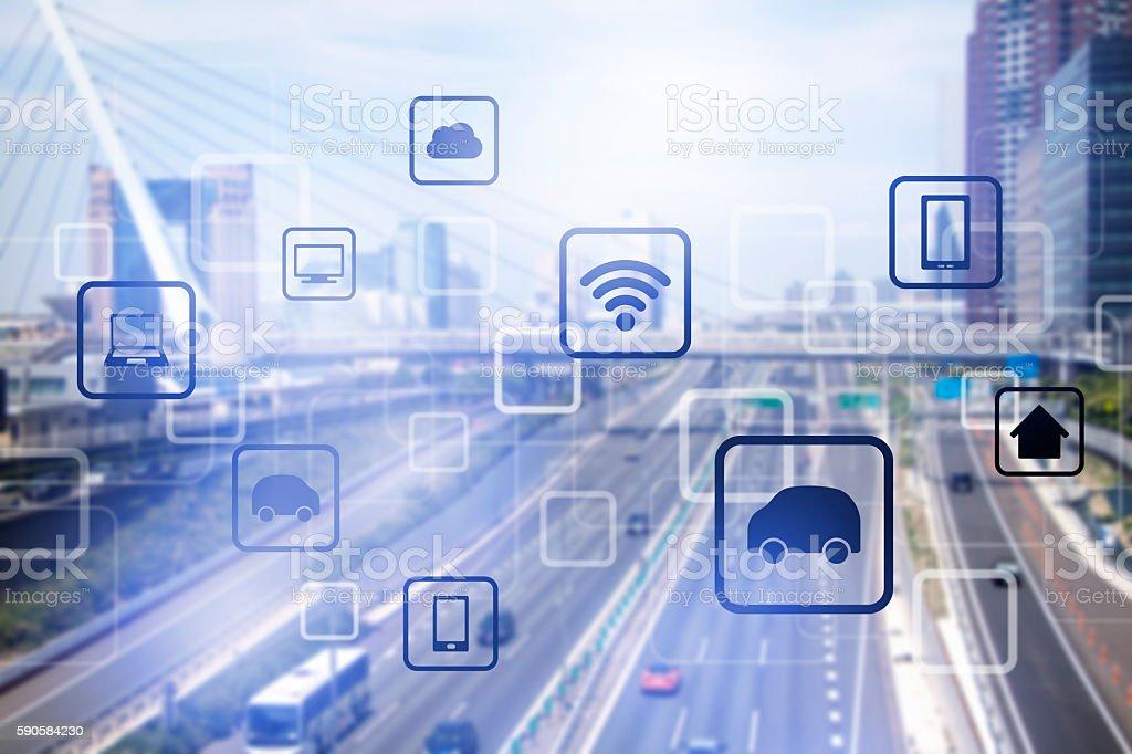 smart city and vehicles, wireless communication network bildbanksfoto