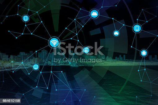 istock smart city and wireless communication network, abstract image visual, internet of things 664610158