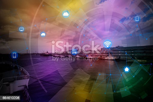 istock smart city and wireless communication network, abstract image visual, internet of things 664610208