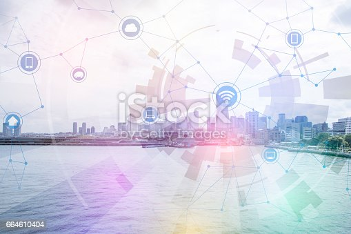 istock smart city and wireless communication network, abstract image visual, internet of things 664610404
