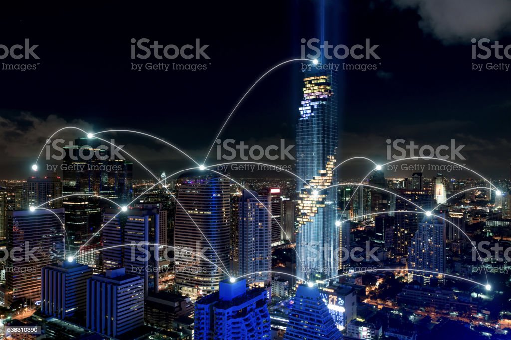 Smart city and wireless communication network, business district stock photo