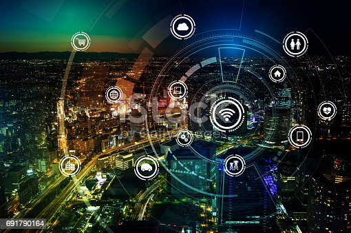 861165648istockphoto smart city and wireless communication network, IoT(Internet of Things), ICT(Information Communication Technology), digital transformation, abstract image visual 691790164