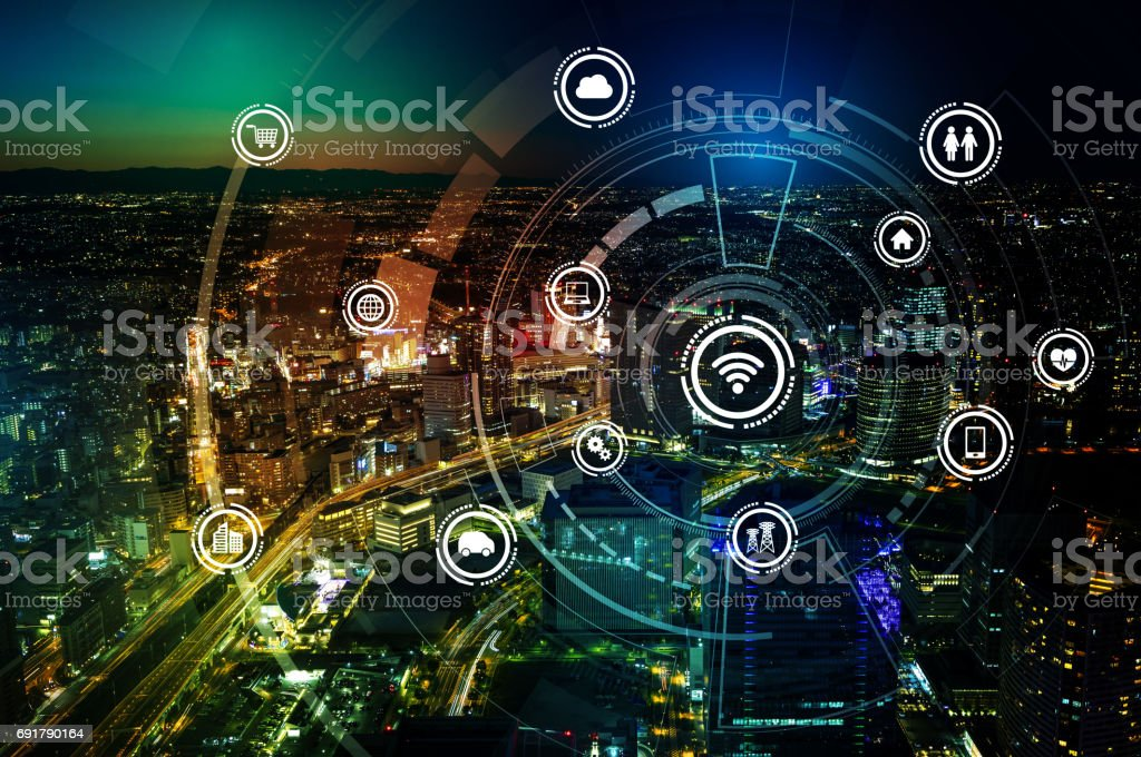 smart city and wireless communication network, IoT(Internet of Things), ICT(Information Communication Technology), digital transformation, abstract image visual stock photo