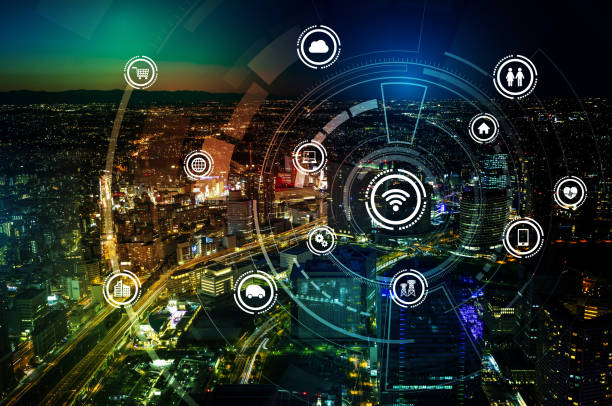 smart city and wireless communication network, iot(internet of things), ict(information communication technology), digital transformation, abstract image visual - transportation icons stock photos and pictures