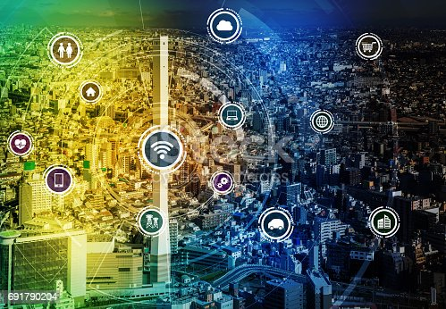 680917060 istock photo smart city and wireless communication network, IoT(Internet of Things), ICT(Information Communication Technology), digital transformation, abstract image visual 691790204
