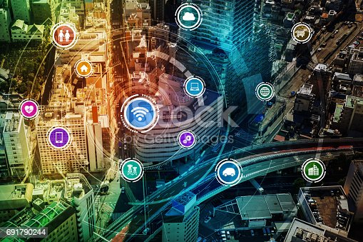 istock smart city and wireless communication network, IoT(Internet of Things), ICT(Information Communication Technology), digital transformation, abstract image visual 691790244