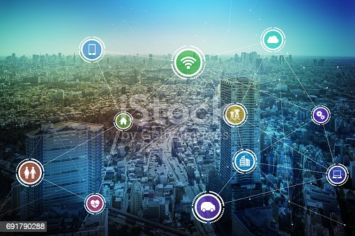 685306538 istock photo smart city and wireless communication network, IoT(Internet of Things), ICT(Information Communication Technology), digital transformation, abstract image visual 691790288