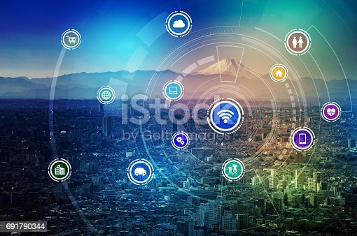 istock smart city and wireless communication network, IoT(Internet of Things), ICT(Information Communication Technology), digital transformation, abstract image visual 691790344