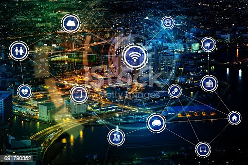 istock smart city and wireless communication network, IoT(Internet of Things), ICT(Information Communication Technology), digital transformation, abstract image visual 691790352