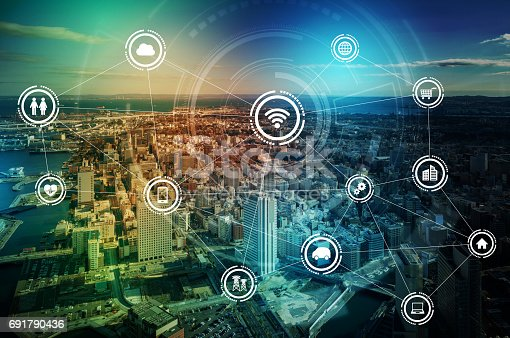 istock smart city and wireless communication network, IoT(Internet of Things), ICT(Information Communication Technology), digital transformation, abstract image visual 691790436