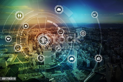 istock smart city and wireless communication network, IoT(Internet of Things), ICT(Information Communication Technology), digital transformation, abstract image visual 691790518
